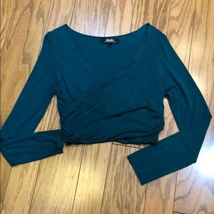 LuLu's Cropped Faux Wrap Long Sleeve Top